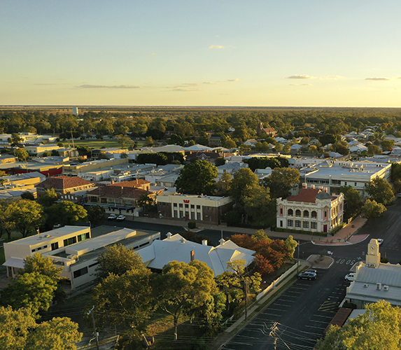 Aerial overlooking the beautiful town of Moree, NSW.